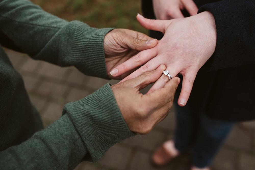 Engagement Photos, Rainy, Ellicott City, Maryland Wedding Photographer, Winter, Overhills Mansion, Indian American, Historical, Classic, Traditional, Engagement Ring, Detail Photo