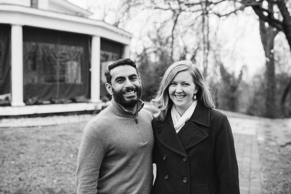 Engagement Photos, Rainy, Ellicott City, Maryland Wedding Photographer, Winter, Overhills Mansion, Indian American, Classic, Traditional, Outdoor, Black and White Photo, Bride and Groom Smiling