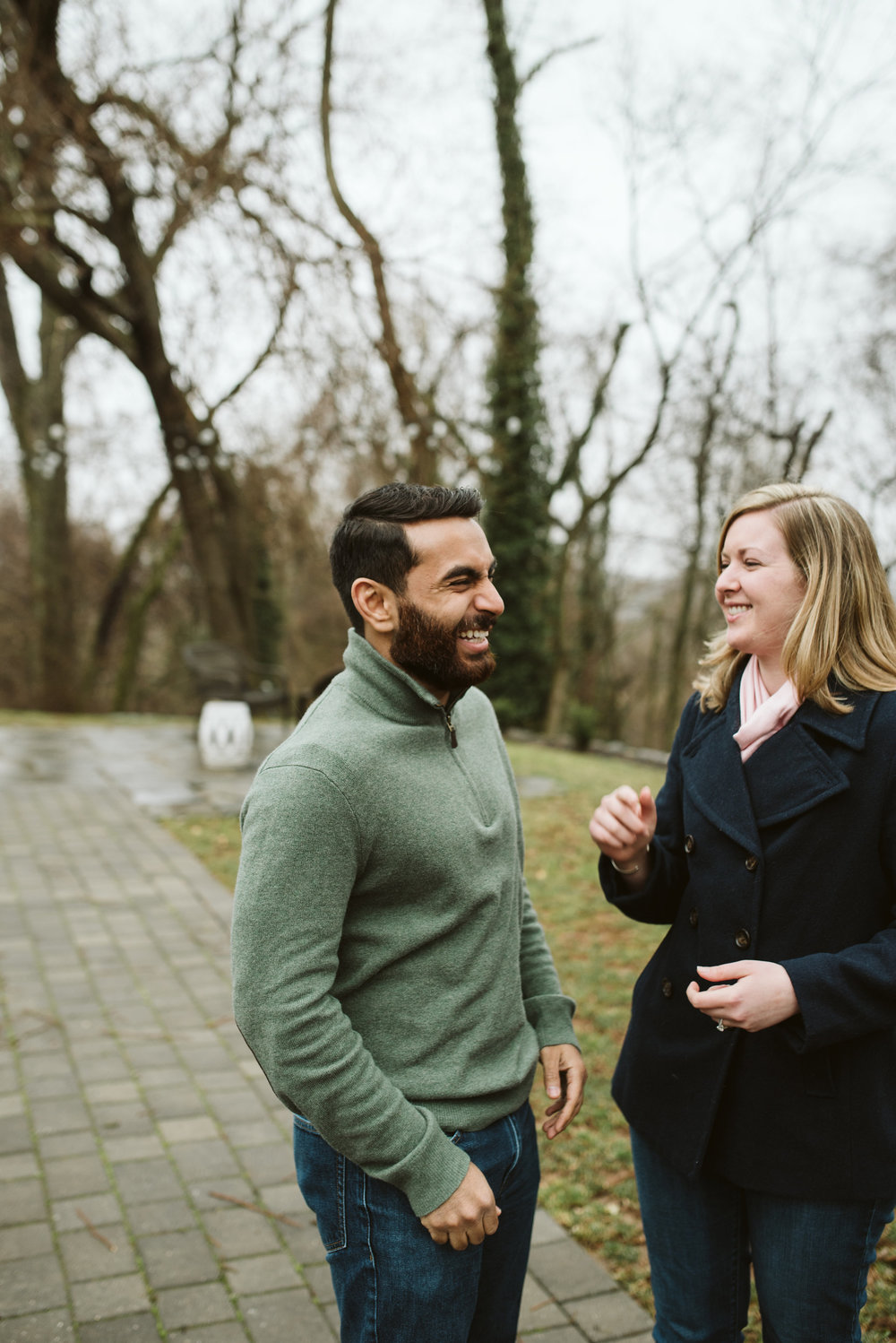 Engagement Photos, Rainy, Ellicott City, Maryland Wedding Photographer, Winter, Overhills Mansion, Indian American, Historical, Classic, Traditional, Outdoor, Laughing, Bride and Groom having fun