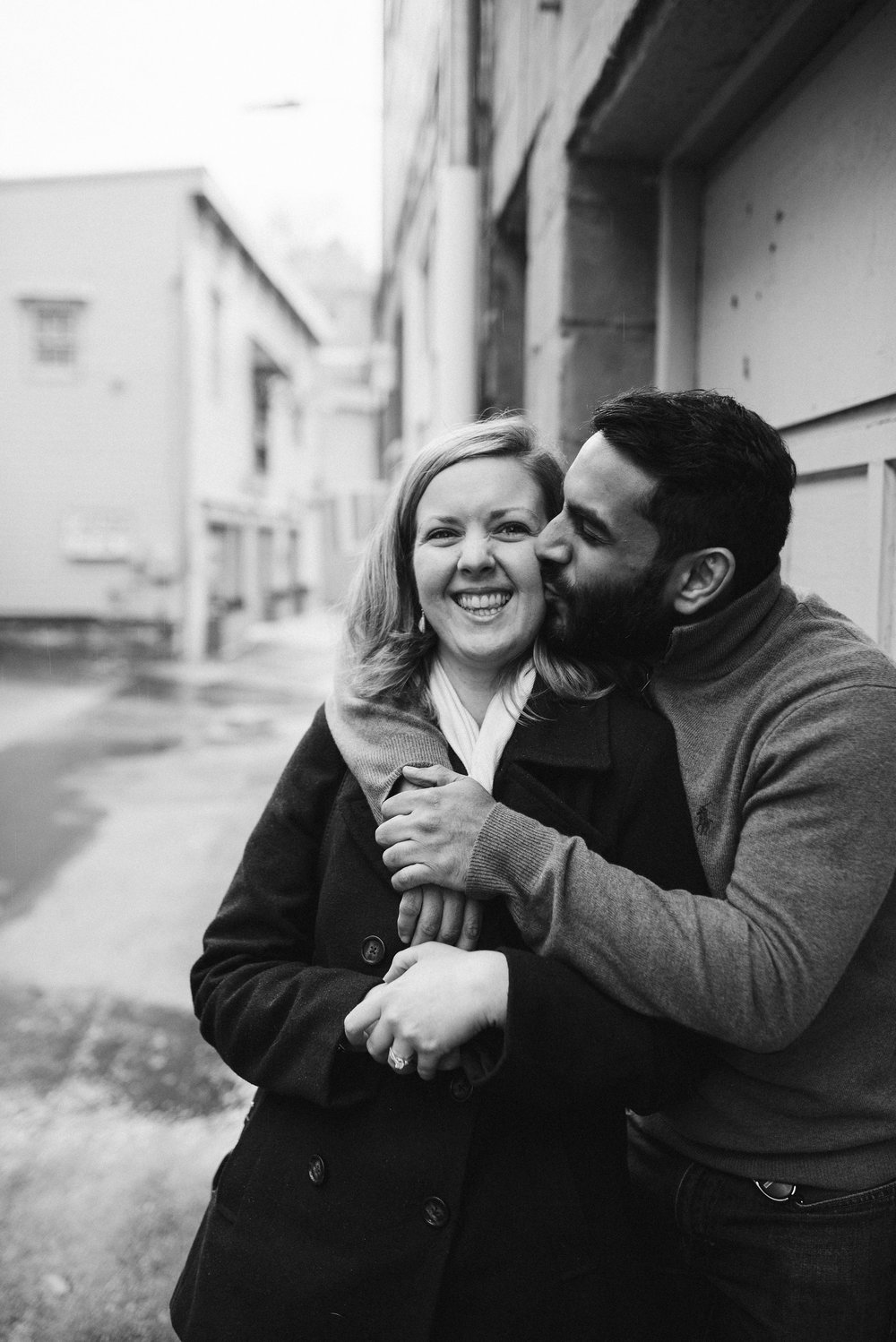 Engagement Photos, Rainy, Ellicott City, Maryland Wedding Photographer, Winter, Overhills Mansion, Indian American, Historical, Classic, Outdoor, Bride and Groom Smiling, Kiss, Black and White Photo