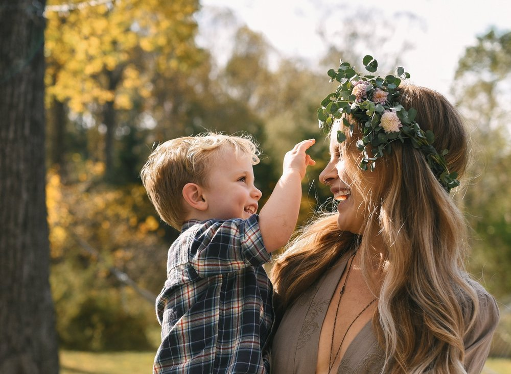 Baltimore, Maryland Wedding Photographer, Backyard Wedding, DIY, Rustic, Casual, Fall Wedding, Woodland, Bride Holding Son, Eucalyptus