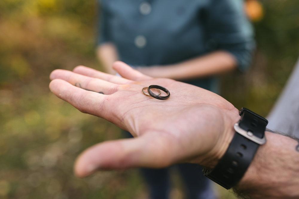 Baltimore, Maryland Wedding Photographer, Backyard Wedding, DIY, Rustic, Casual, Fall Wedding, Woodland, Groom Holding Wedding Rings in Palm of his Hand, Artifactum Designs