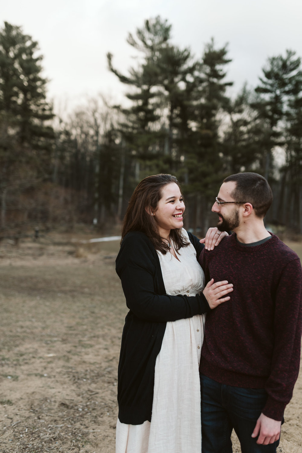 Baltimore County, Loch Raven Reservoir, Maryland Wedding Photographer, Winter, Engagement Photos, Nature, Romantic, Clean and Classic, Couple Laughing Together in the Forest