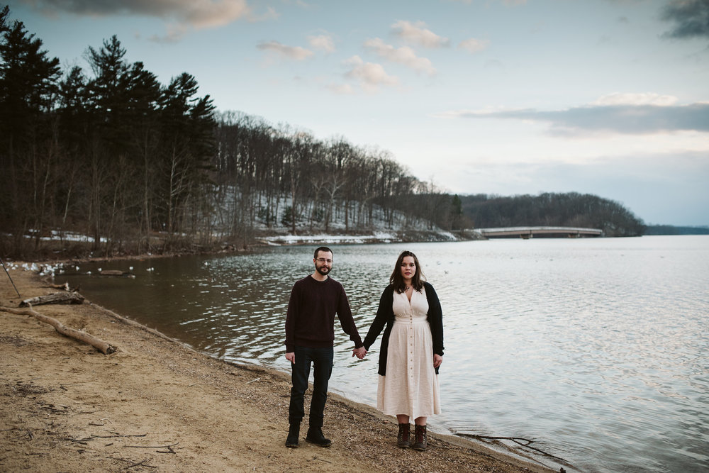 Baltimore County, Loch Raven Reservoir, Maryland Wedding Photographer, Winter, Engagement Photos, Nature, Romantic, Classic, Bride and Groom Holding Hands Next to Water, Casual and Sweet, Rustic