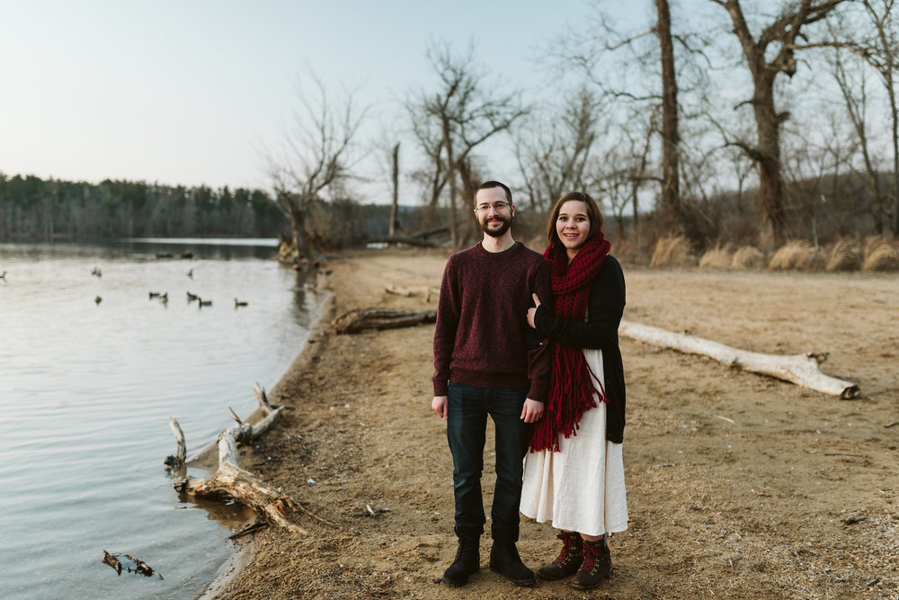 Baltimore County, Loch Raven Reservoir, Maryland Wedding Photographer, Winter, Engagement Photos, Nature, Romantic, Classic, Bride and Groom Standing Together on Shoreline, Woodland, Rustic