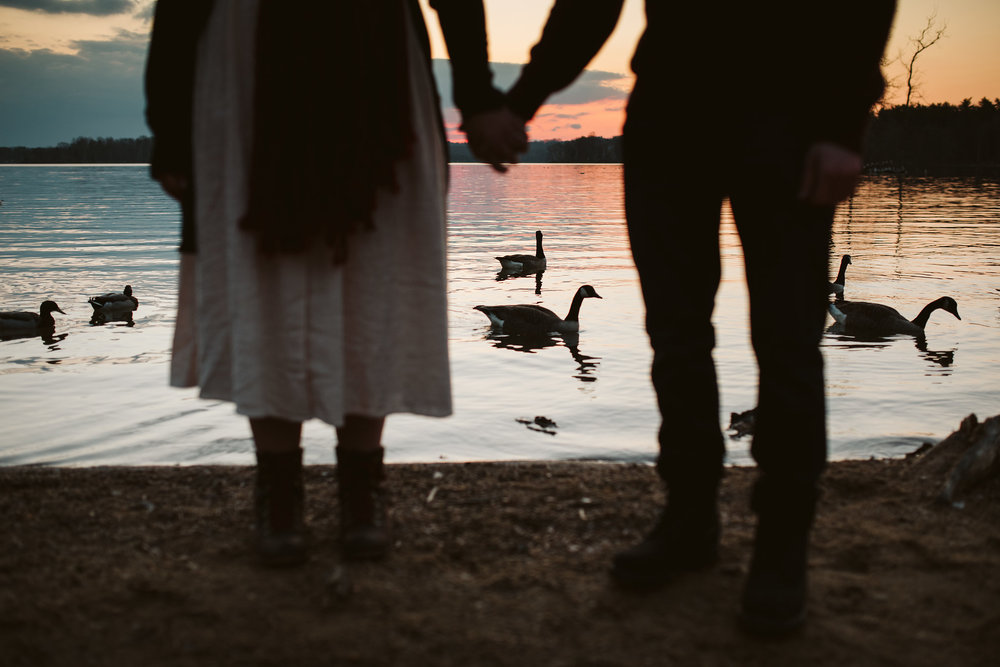 Baltimore County, Loch Raven Reservoir, Maryland Wedding Photographer, Winter, Engagement Photos, Nature, Romantic, Classic, Silhouette of Couple Holding Hands by Water, Sunset over Reservoir, Wildlife, Rustic, Laid Back