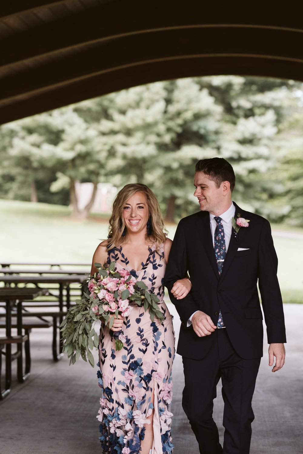 Pop-up Ceremony, Outdoor Wedding, Casual, Simple, Lake Roland, Baltimore, Maryland Wedding Photographer, Laid Back, DIY, Bride and Groom Walking Down Aisle, Suit Supply, Marchesa Notte Dress