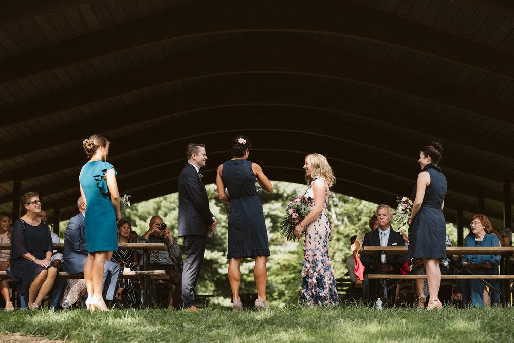 Pop-up Ceremony, Outdoor Wedding, Casual, Simple, Lake Roland, Baltimore, Maryland Wedding Photographer, Laid Back, DIY, Elegant Camp Pavilion,