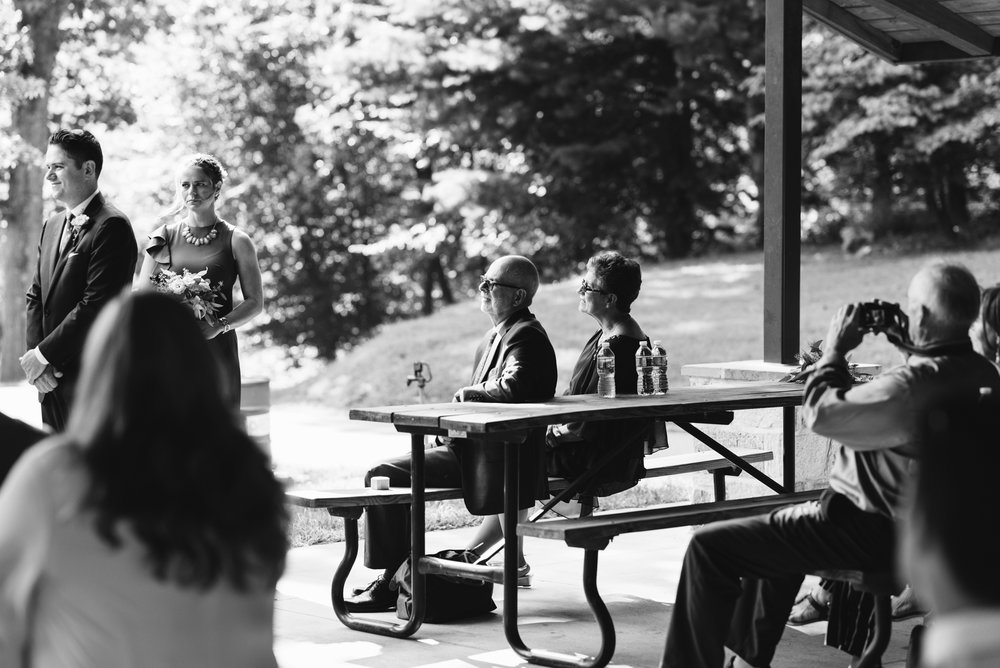 Pop-up Ceremony, Outdoor Wedding, Casual, Simple, Lake Roland, Baltimore, Maryland Wedding Photographer, Laid Back, DIY, Park, Parent's Reactions During Ceremony, Black and White Photo, Park Pavilion