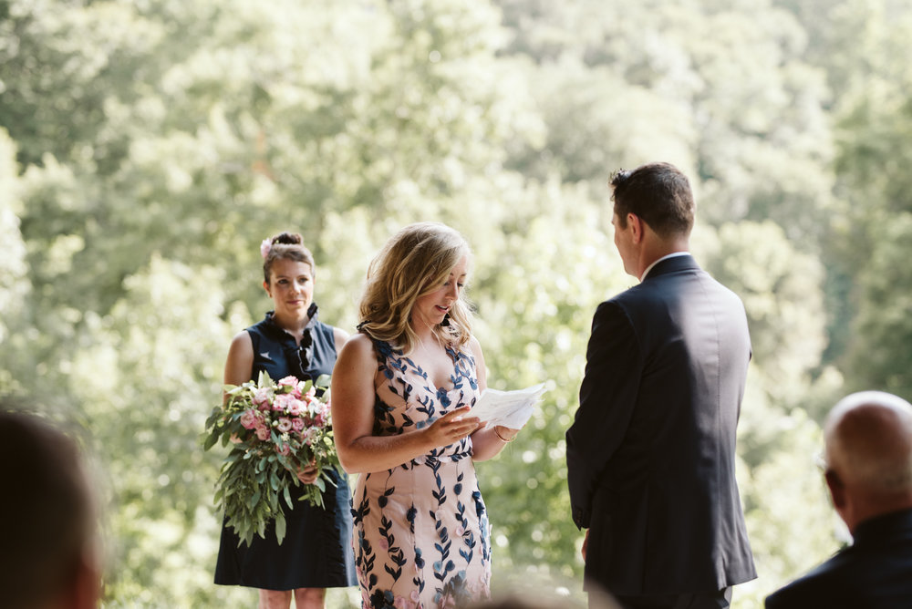 Pop-up Ceremony, Outdoor Wedding, Casual, Simple, Lake Roland, Baltimore, Maryland Wedding Photographer, Laid Back, DIY, Park, Bride Reading Her Vows, Marchesa Notte Dress, Lisianthus Flowers
