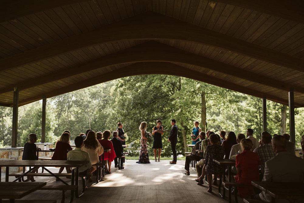 Pop-up Ceremony, Outdoor Wedding, Casual, Simple, Lake Roland, Baltimore, Maryland Wedding Photographer, Laid Back, DIY, Camp Pavilion Wedding, Nature, Ceremony Photo