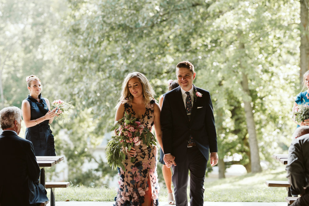 Pop-up Ceremony, Outdoor Wedding, Casual, Simple, Lake Roland, Baltimore, Maryland Wedding Photographer, Laid Back, DIY, Bride and Groom Walking Down Aisle Together, Just Married, Lisianthus Bouquet