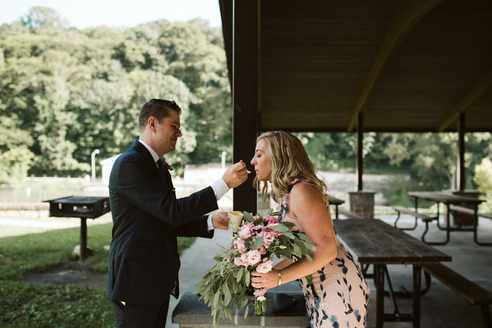 Pop-up Ceremony, Outdoor Wedding, Casual, Simple, Lake Roland, Baltimore, Maryland Wedding Photographer, Laid Back, DIY, Groom Feeding Bride Ice Cream