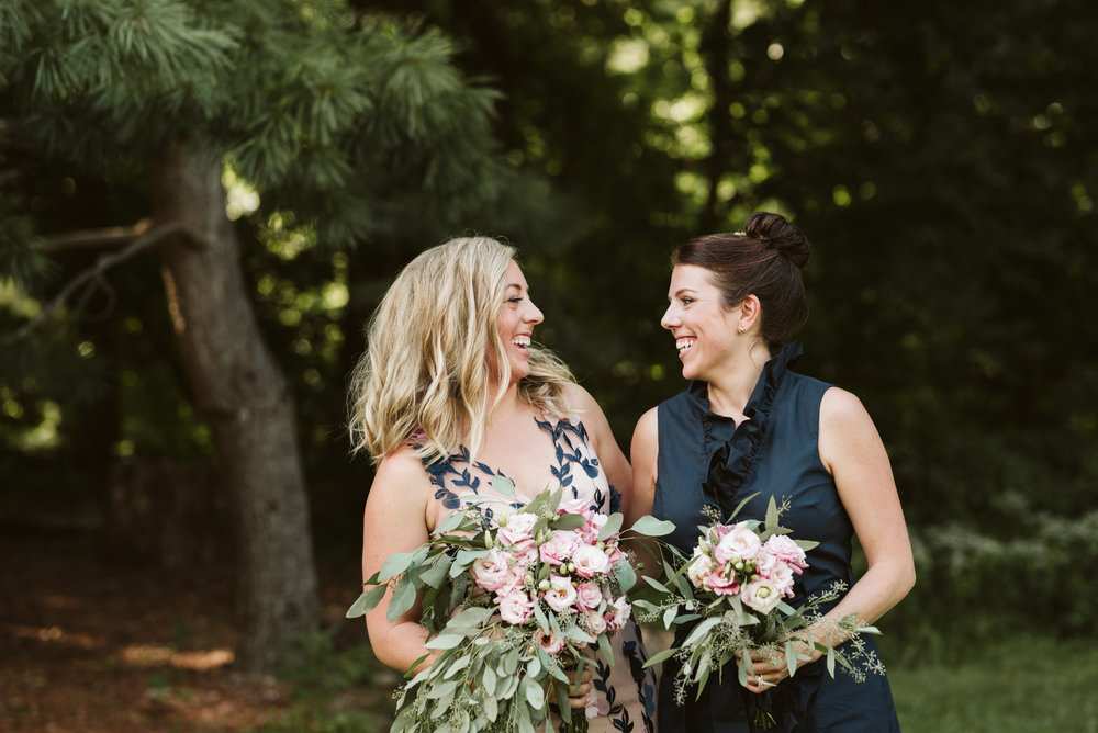 Outdoor Wedding, Casual, Simple, Lake Roland, Baltimore, Maryland Wedding Photographer, Laid Back, DIY Flowers, Bouquet with Eucalyptus and Lisianthus, September, Bride and Maid of Honor Laughing