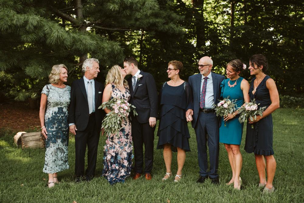 Pop-up Ceremony, Outdoor Wedding, Casual, Simple, Lake Roland, Baltimore, Maryland Wedding Photographer, Laid Back, DIY Flowers, September Wedding, Family Portrait