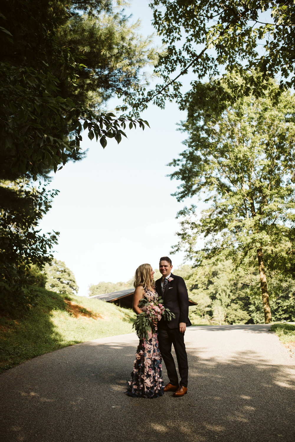 Outdoor Wedding, Casual, Simple, Lake Roland, Baltimore, Maryland Wedding Photographer, Laid Back, DIY Flowers, Eucalyptus and Lisianthus, Bride and Groom Standing on Path, Marchesa Notte Dress