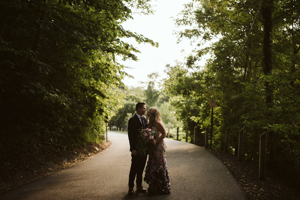 Pop-up Ceremony, Outdoor Wedding, Casual, Simple, Lake Roland, Baltimore, Maryland Wedding Photographer, Laid Back, Moody Portrait, Couple in Forest