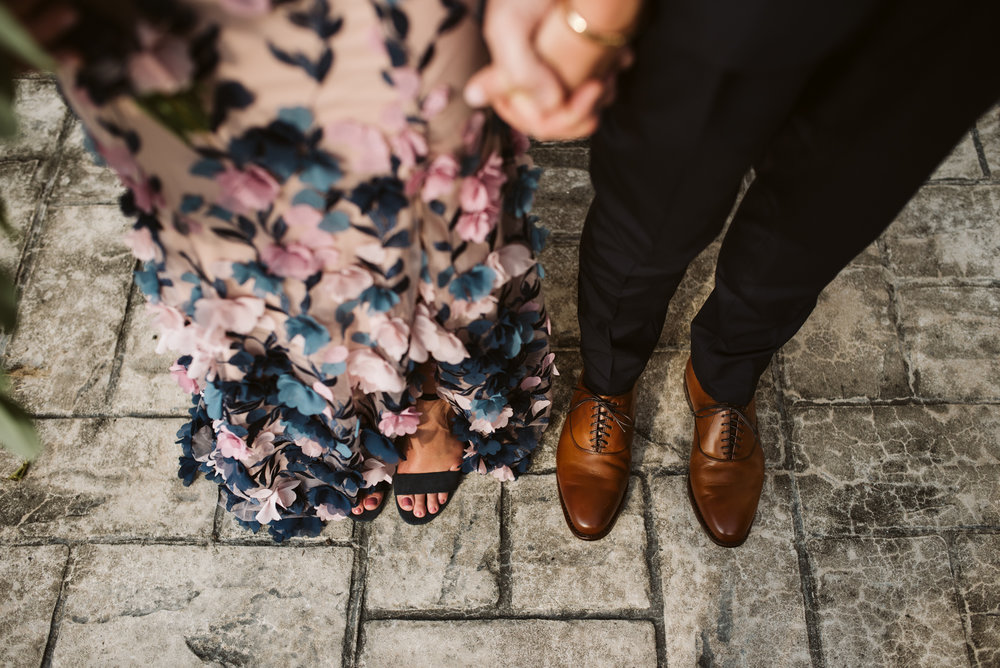 Outdoor Wedding, Casual, Simple, Lake Roland, Baltimore, Maryland Wedding Photographer, Laid Back, Overhead Shot, Pink Wedding Dress, Kelly and Katie Shoes