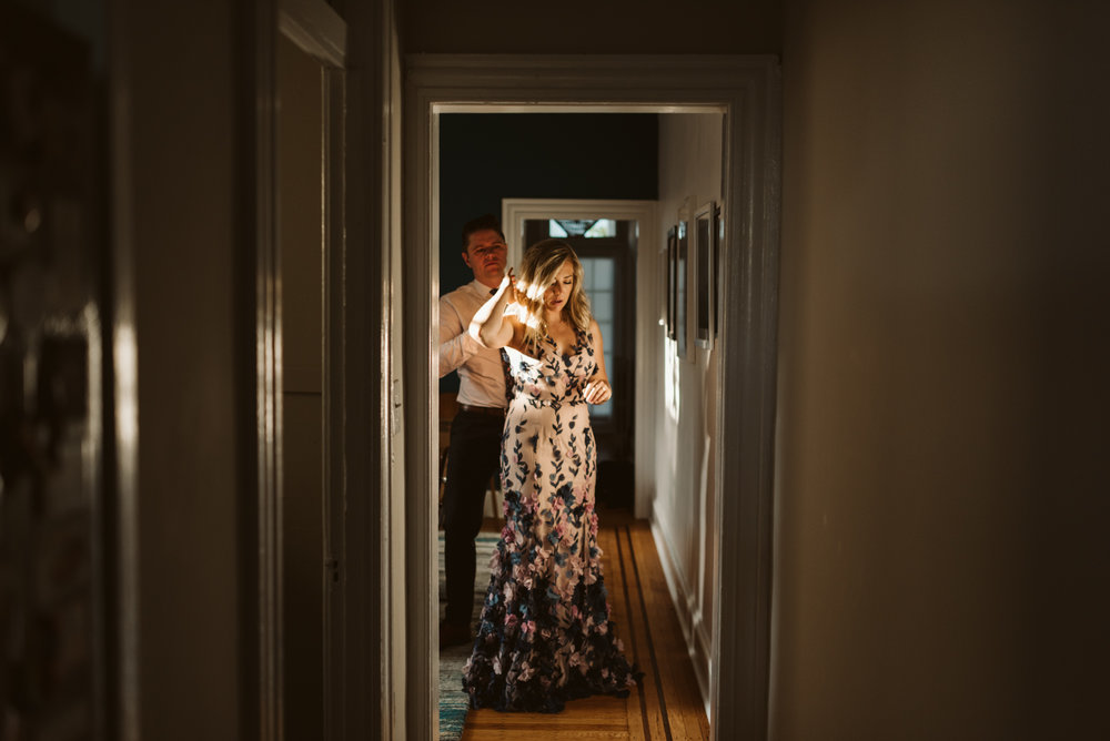 Pop-up Ceremony, Outdoor Wedding, Casual, Simple, Lake Roland, Baltimore, Maryland Wedding Photographer, Laid Back, Bride and Groom at Home