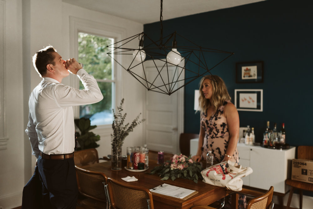 Pop-up Ceremony, Outdoor Wedding, Casual, Simple, Lake Roland, Baltimore, Maryland Wedding Photographer, Laid Back, Bride and Groom Relaxing Before Reception