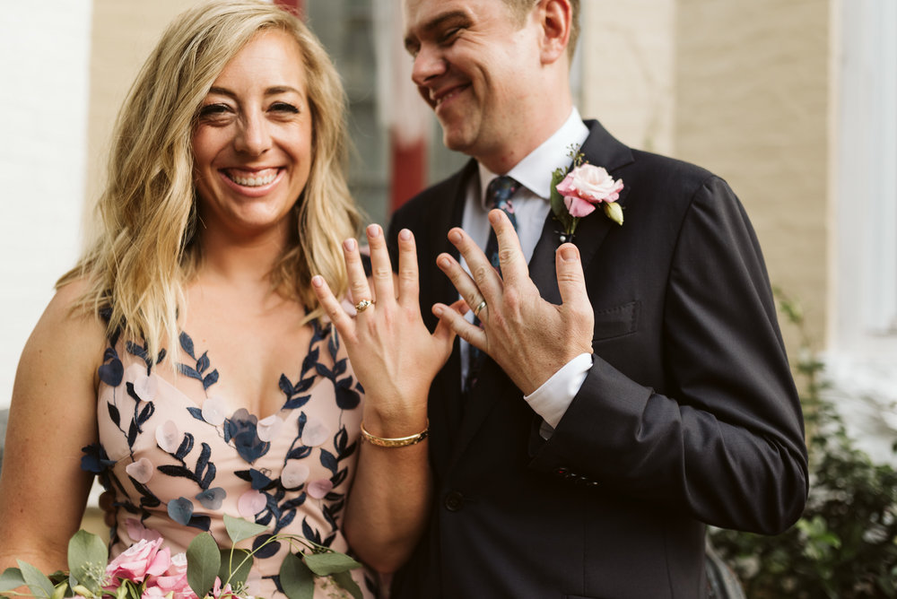 Pop-up Ceremony, Outdoor Wedding, Casual, Simple, Lake Roland, Baltimore, Maryland Wedding Photographer, Laid Back, Bride and Groom Laughing, Wedding Rings, Detail Photo