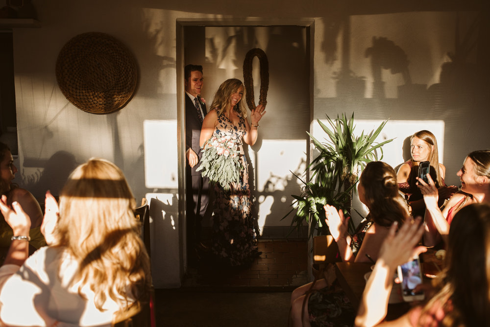 Pop-up Ceremony, Outdoor Wedding, Casual, Simple, Lake Roland, Baltimore, Maryland Wedding Photographer, Laid Back, Bride and Groom Entrance at Wedding Reception, Clavel