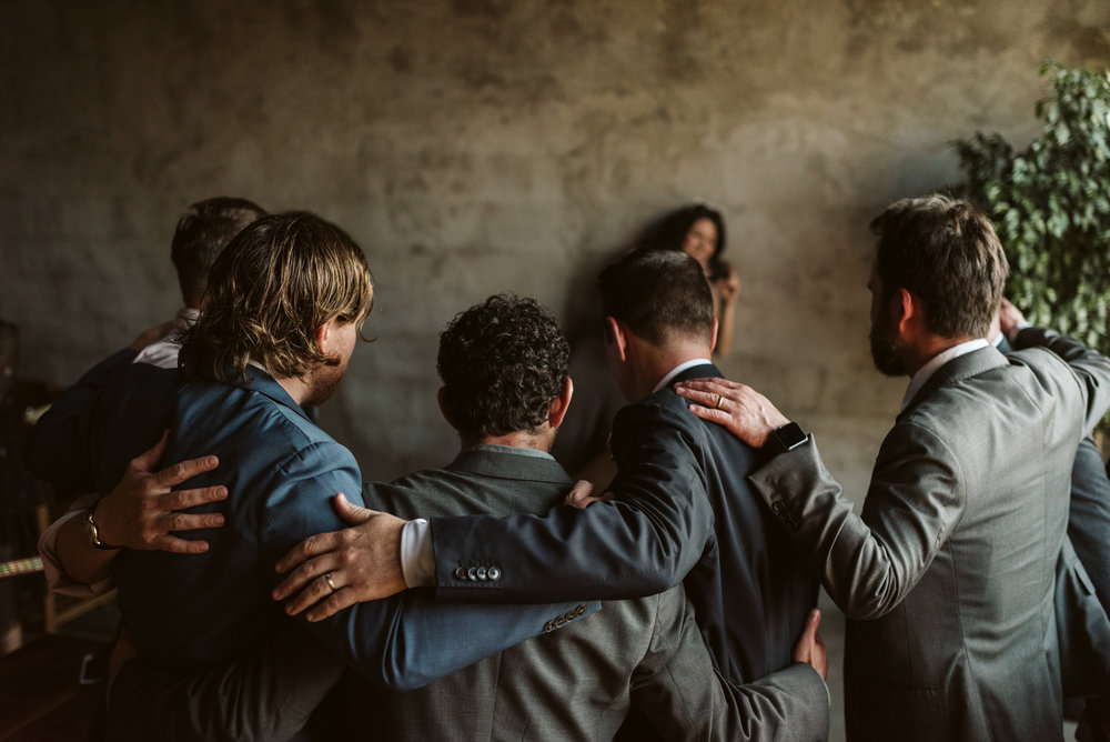 beautiful portrait of groomsmen at wedding