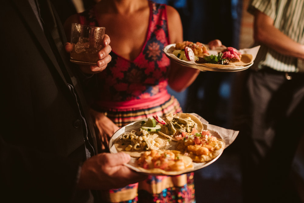 Outdoor Wedding, Casual, Simple, Baltimore, Maryland Wedding Photographer, Laid Back, September Wedding, Reception Food, Guests Enjoying Meal, Tacos