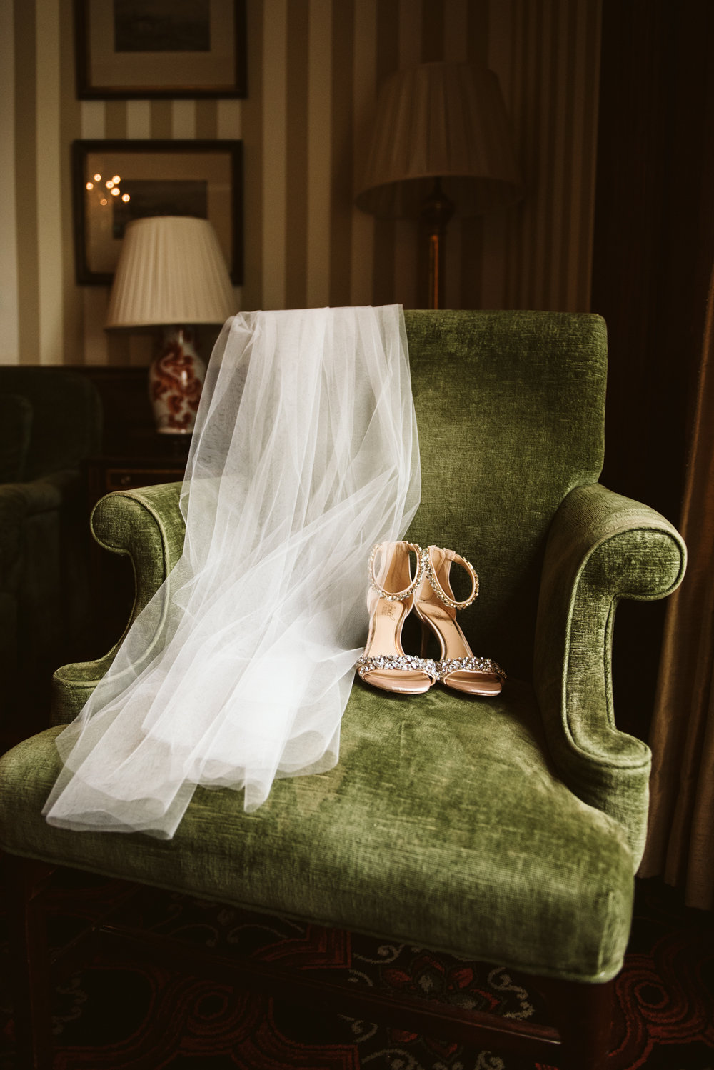 Elegant, Columbia Country Club, Chevy Chase Maryland, Baltimore Wedding Photographer, Classic, Traditional, Detail Photo of Veil and Shoes on Green Velvet Chair