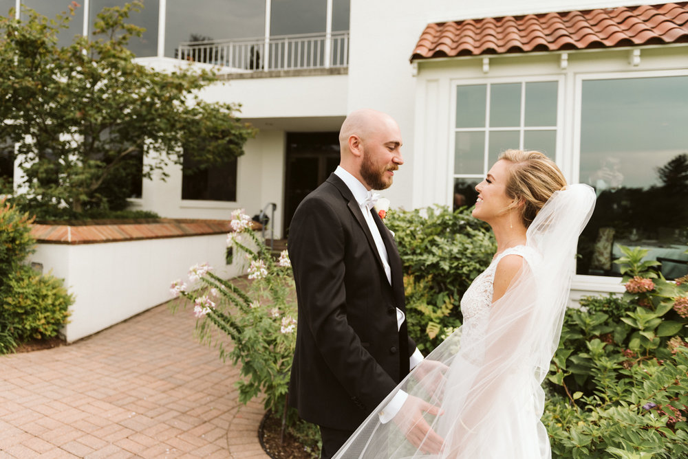 Elegant, Columbia Country Club, Chevy Chase Maryland, Baltimore Wedding Photographer, Classic, Traditional, Bride and Groom First Look, Couple Laughing and Holding Hands