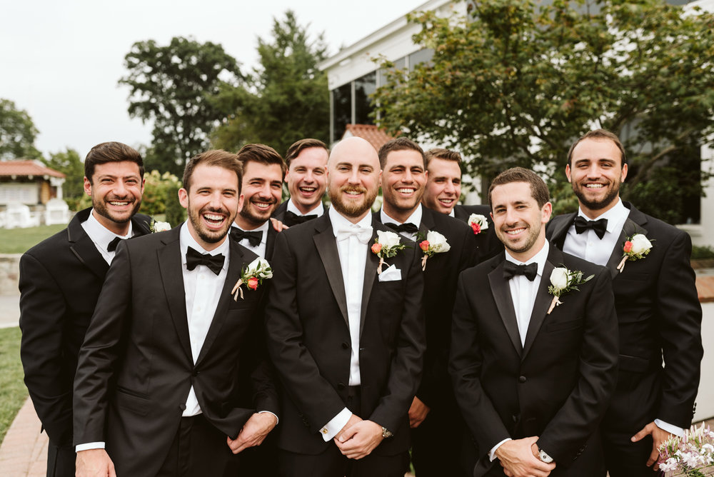 Elegant, Columbia Country Club, Chevy Chase Maryland, Baltimore Wedding Photographer, Classic, Traditional, Groom with Groomsmen, relaxed Portrait, Hugo Boss Suit