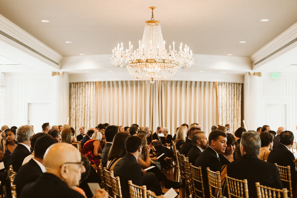 Elegant, Columbia Country Club, Chevy Chase Maryland, Baltimore Wedding Photographer, Classic, Traditional, Jewish Wedding, Crystal Chandelier, Guests awaiting Ceremony, Gold Ceremony Chairs