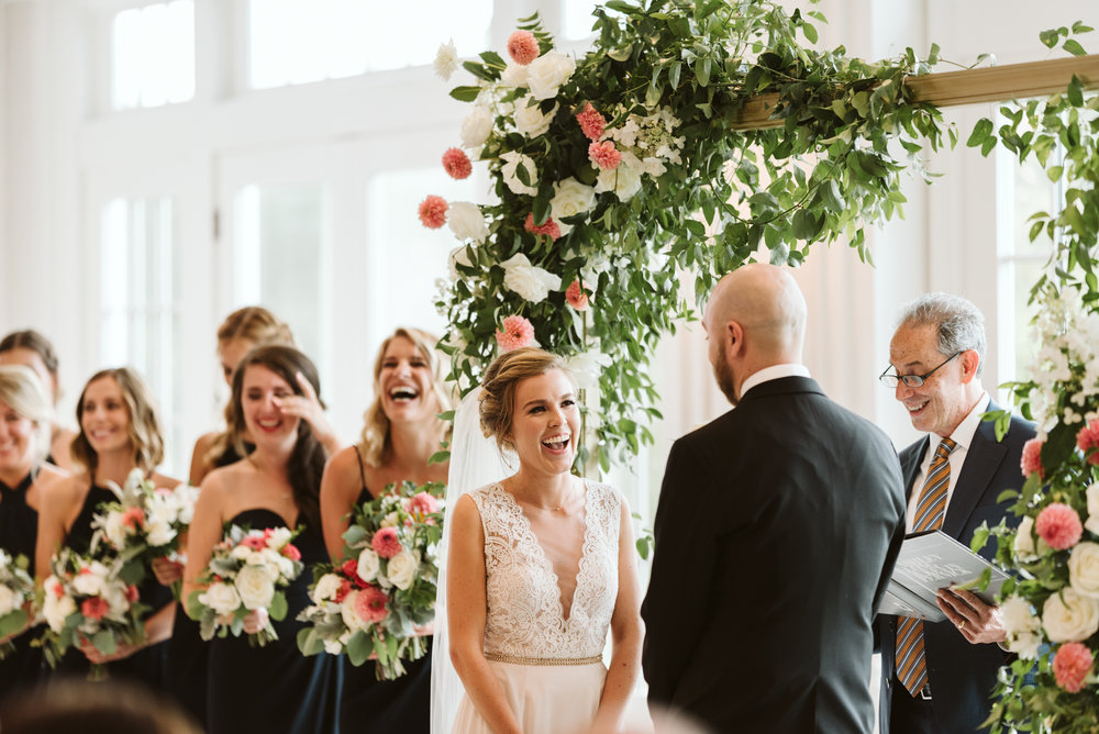 Elegant, Columbia Country Club, Chevy Chase Maryland, Baltimore Wedding Photographer, Classic, Traditional, Ceremony Photo, Meg Owen Floral Designs, Floral Archway, Exchanging Vows and Laughing