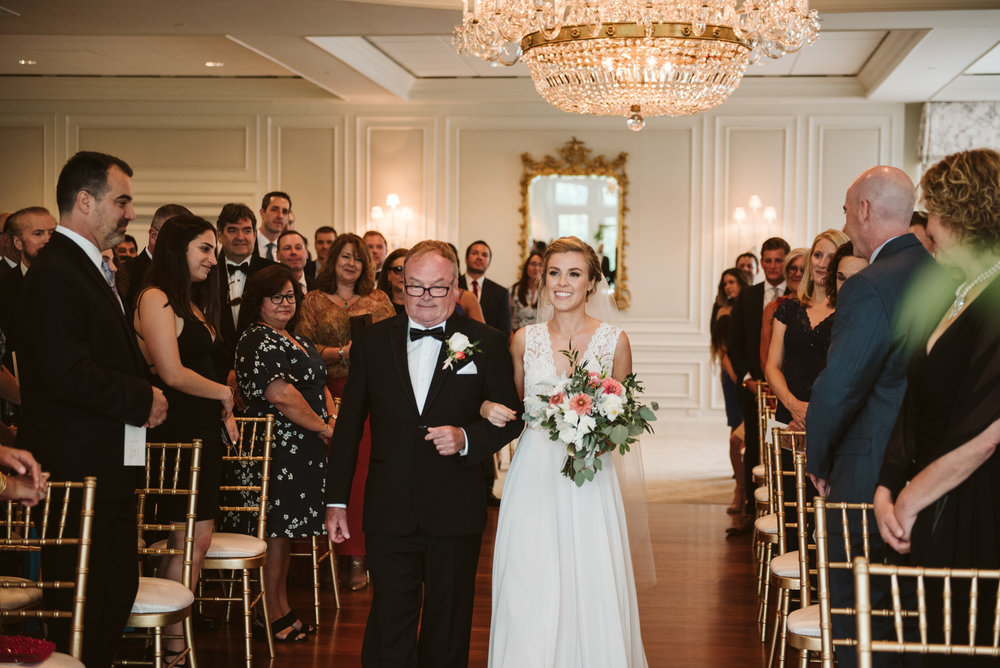 Elegant, Columbia Country Club, Chevy Chase Maryland, Baltimore Wedding Photographer, Classic, Traditional, Bride Walking Down Aisle with Her Father, BHLDN Wedding Dress
