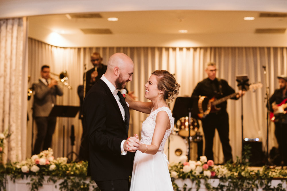 Elegant, Columbia Country Club, Chevy Chase Maryland, Baltimore Wedding Photographer, Classic, Bride and Groom First Dance, BHLDN Wedding Dress, Hugo Boss Suit, Sweet Hairafter, Bachelor Boys Band