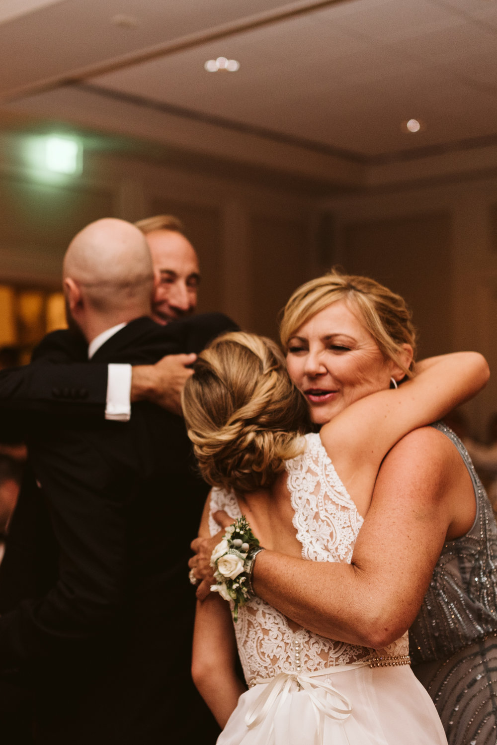 Elegant, Columbia Country Club, Chevy Chase Maryland, Baltimore Wedding Photographer, Classic, Traditional, Bride and Groom Hugging Parents After Toasts, Sweet Hairafter