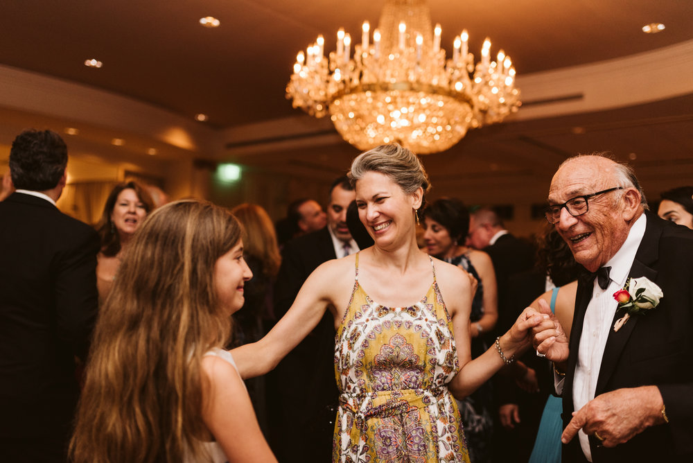 Elegant, Columbia Country Club, Chevy Chase Maryland, Baltimore Wedding Photographer, Classic, Traditional, Grandfather Dancing Granddaughter at Wedding Reception, Candid Photo