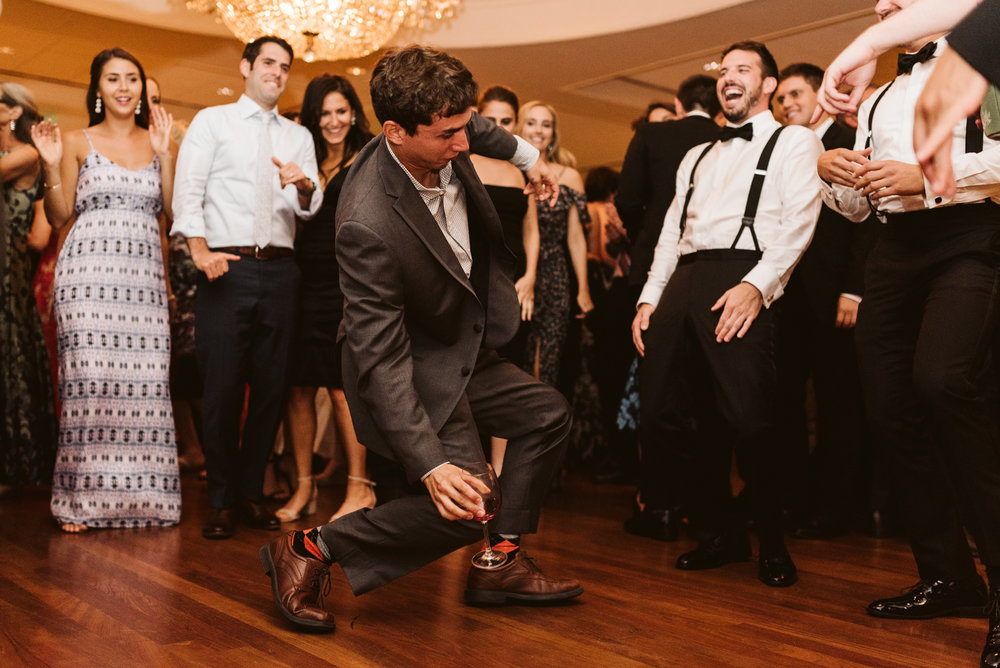 Elegant, Columbia Country Club, Chevy Chase Maryland, Baltimore Wedding Photographer, Classic, Traditional, Fun Dance Moves at Wedding Reception, Candid Photo