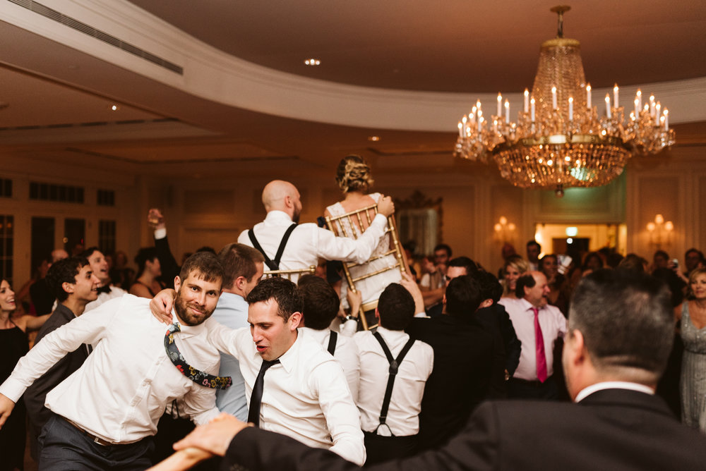 crazy and wild hora at jewish wedding