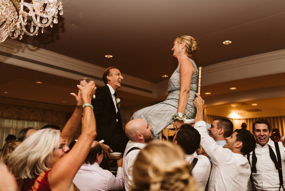 Elegant, Columbia Country Club, Chevy Chase Maryland, Baltimore Wedding Photographer, Classic, Traditional, Parents of Bride and Groom Doing the Hora at Jewish Wedding Reception