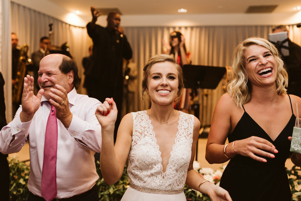 Elegant, Columbia Country Club, Chevy Chase Maryland, Baltimore Wedding Photographer, Classic, Traditional,Bride Dancing and Smiling on Wedding Day, BHLDN Wedding Dress