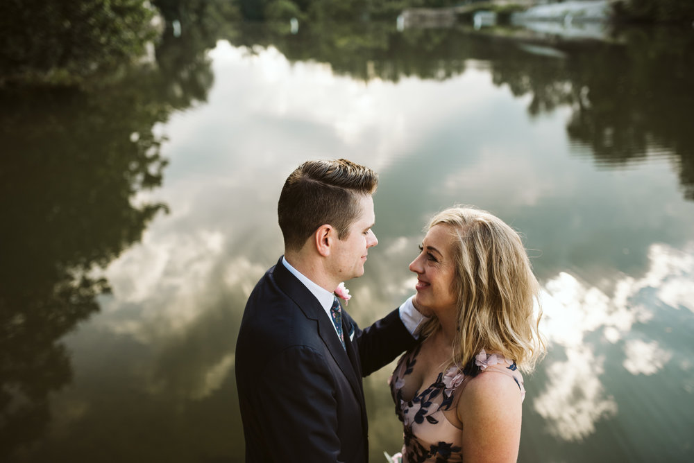 Pop-up Ceremony, Outdoor Wedding, Casual, Simple, Lake Roland, Baltimore, Maryland Wedding Photographer, Laid Back, Bride and Groom Waterfront Portrait, Intimate Moment