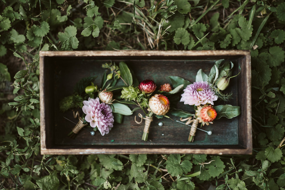 Rocklands Farm, Maryland, Intimate Wedding, Baltimore Wedding Photographer, Sungold Flower Co, Rustic, Romantic, Barn Wedding, Boutonnieres in Wooden Box,