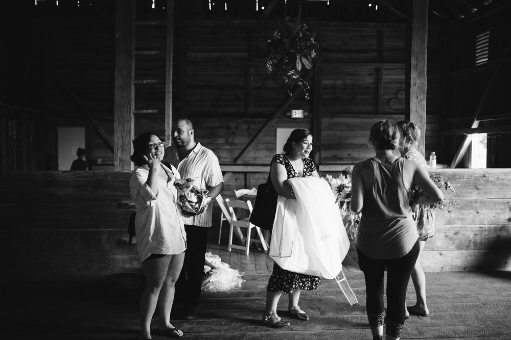Rocklands Farm, Maryland, Intimate Wedding, Baltimore Wedding Photographer, Sungold Flower Co, Rustic, Romantic, Barn Wedding, Wedding Party Setting Up Venue, Black and White Photo