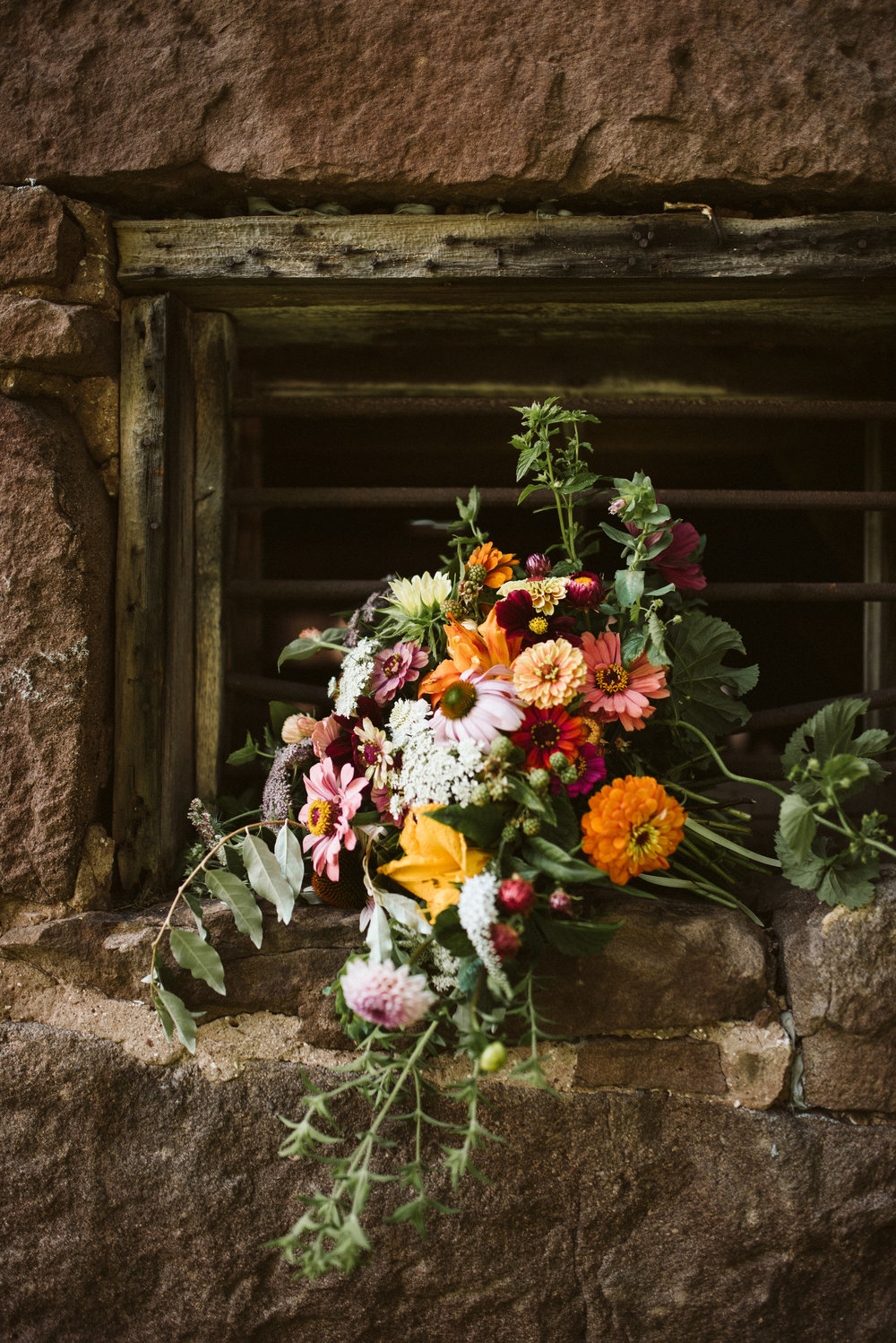 Rocklands Farm, Maryland, Intimate Wedding, Baltimore Wedding Photographer, Sungold Flower Co, Rustic, Romantic, Barn Wedding, Bridal Bouquet with Pink and Orange Flowers