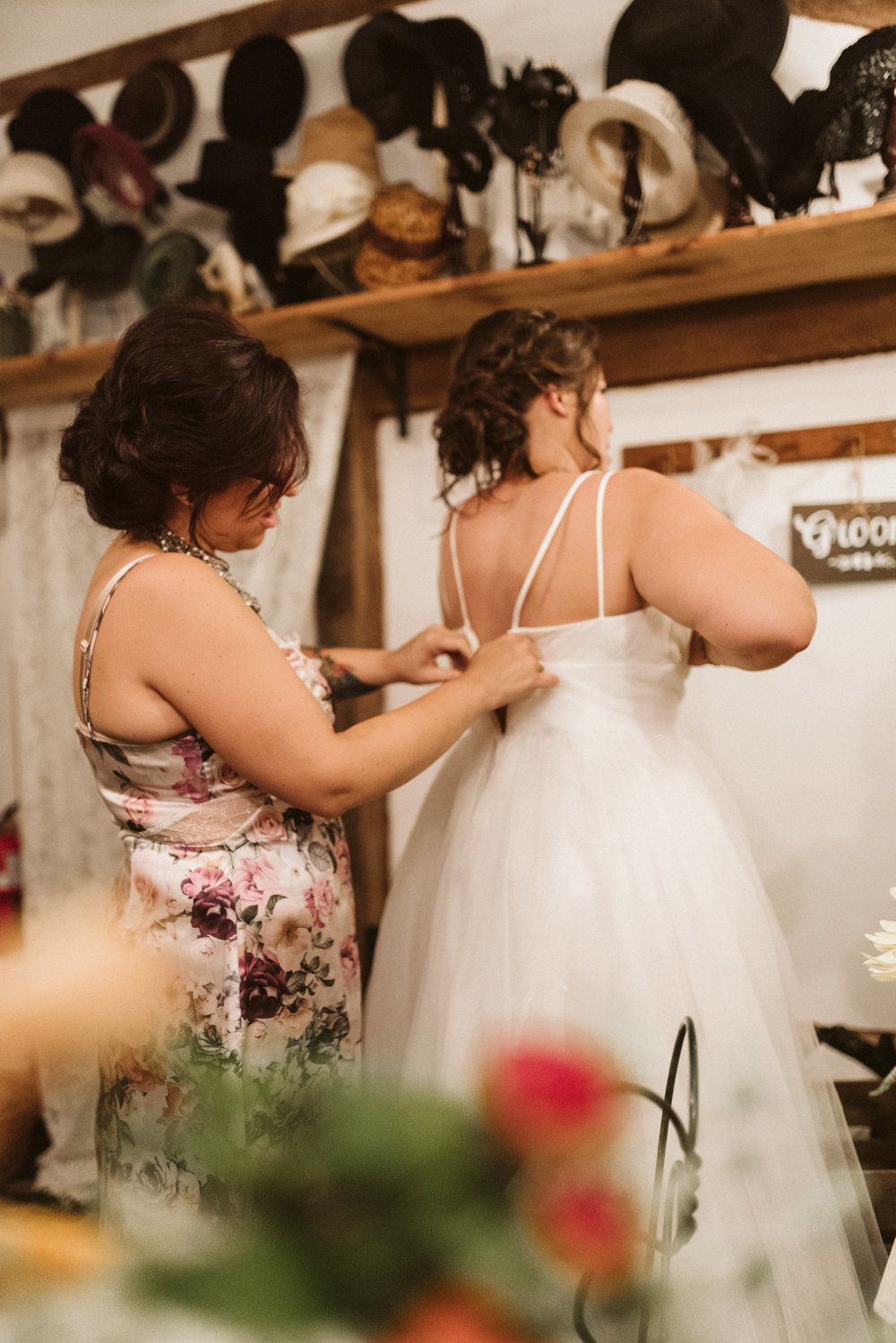 Rocklands Farm, Maryland, Intimate Wedding, Baltimore Wedding Photographer, Sungold Flower Co, Rustic, Romantic, Barn Wedding, Bride Getting Ready Before Ceremony, Tulle Wedding Dress