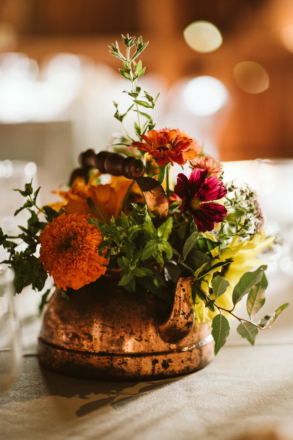Rocklands Farm, Maryland, Intimate Wedding, Baltimore Wedding Photographer, Sungold Flower Co, Rustic, Romantic, Barn Wedding, Centerpiece, Orange and Maroon flowers in Copper Teapot