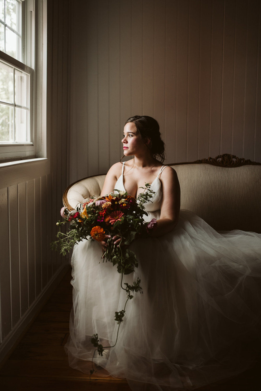 Rocklands Farm, Maryland, Intimate Wedding, Baltimore Wedding Photographer, Sungold Flower Co, Rustic, Romantic, Barn Wedding, Romantic Portrait of Bride Near Window