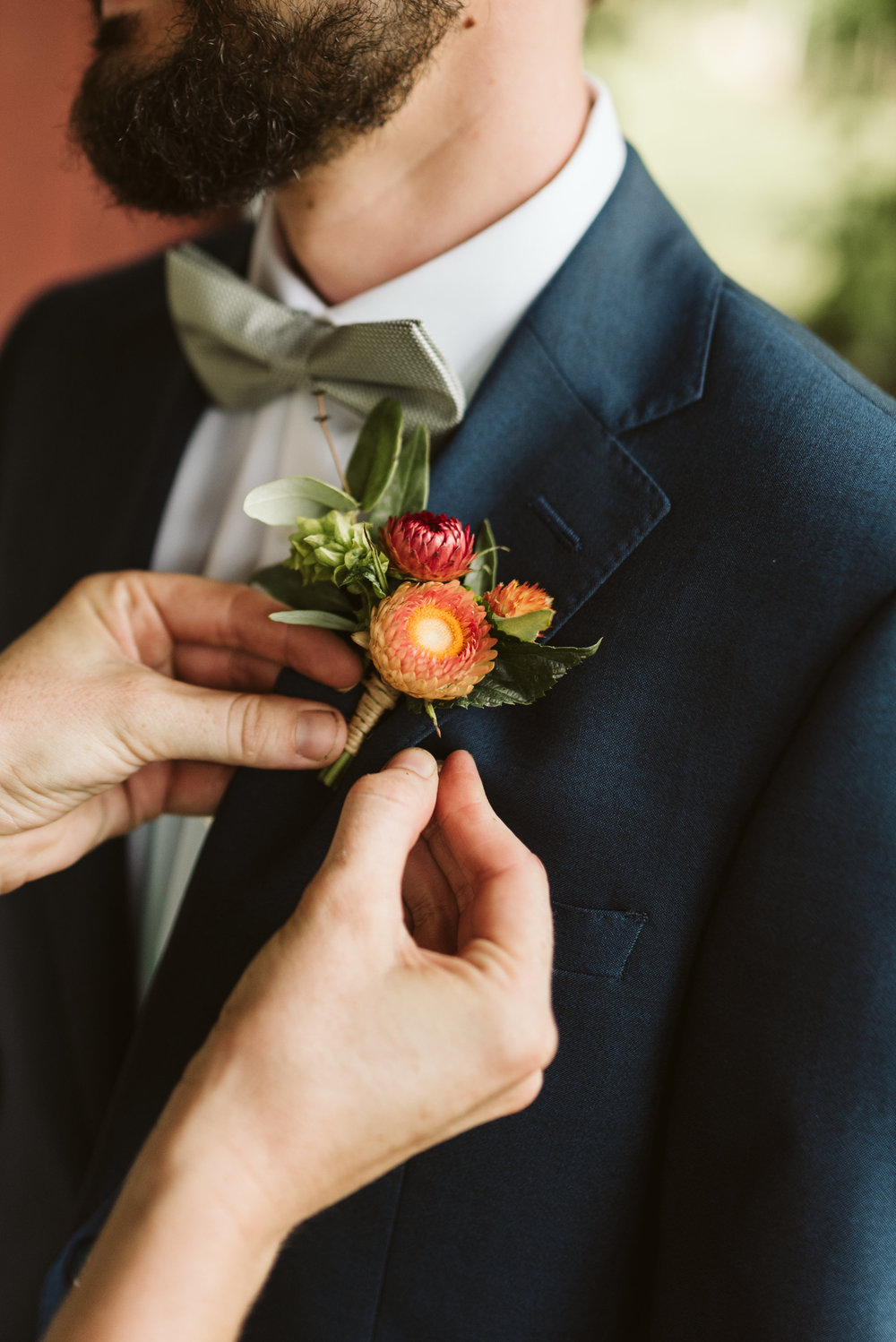 Rocklands Farm, Maryland, Intimate Wedding, Baltimore Wedding Photographer, Sungold Flower Co, Rustic, Romantic, Barn Wedding, Groom Getting Ready, Boutonniere
