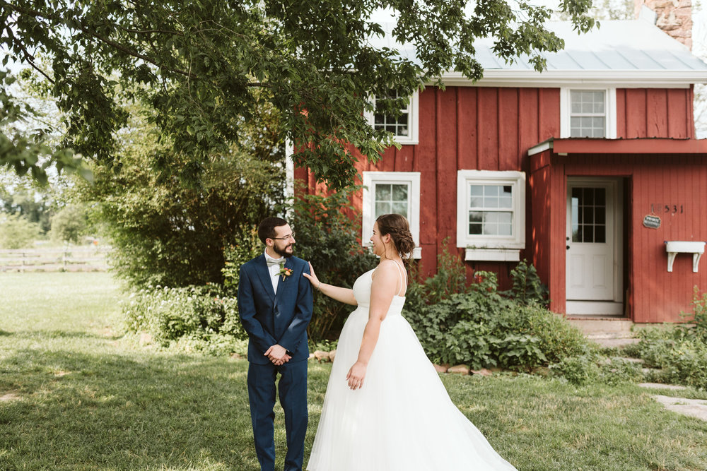 Rocklands Farm, Maryland, Intimate Wedding, Baltimore Wedding Photographer, Sungold Flower Co, Rustic, Romantic, Barn Wedding, The First Look, Bride and Groom Laughing Together Outside